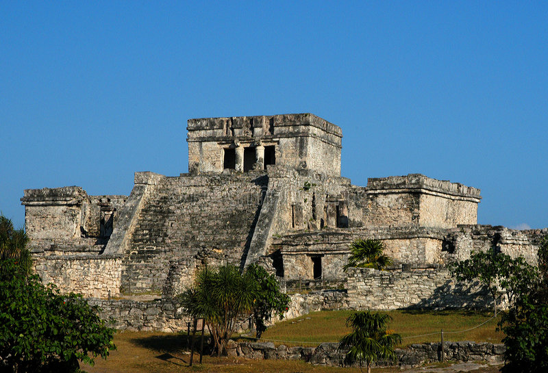Mayan Ruins, Tulum, Mexico. Mayan ruins in Mexico at Tulum royalty free stock image