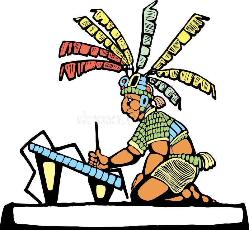 mayan scribe royaltyfri illustrationer