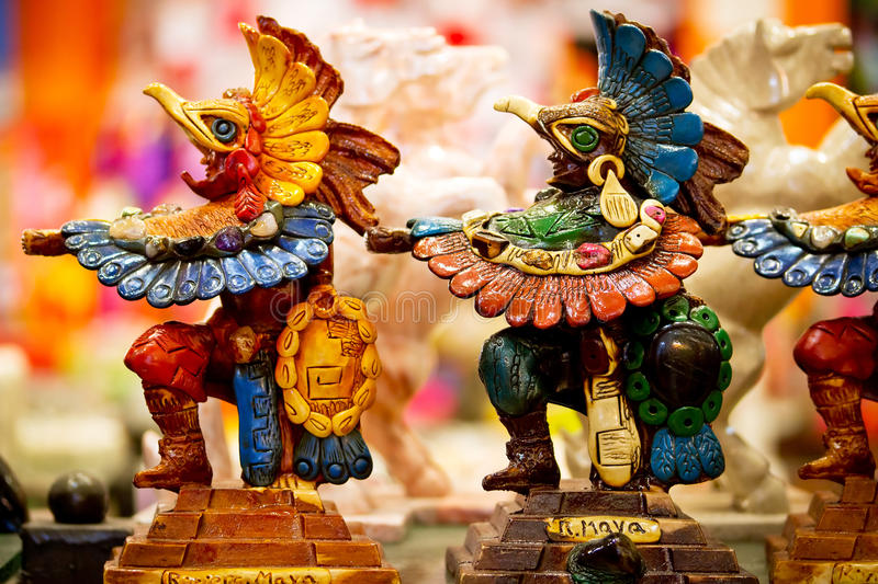 Mayan souvenir statues. From Mexico stock images