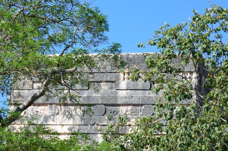 Mayan steenbouw door bomen half wordt verborgen die stock afbeelding