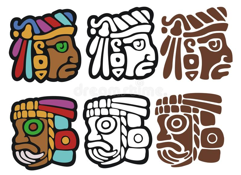 Mayan style glyphs vector illustration
