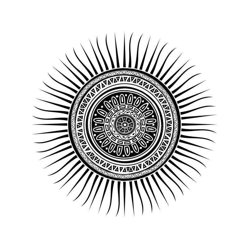 Mayan sun symbol. Tattoo design over white background stock illustration