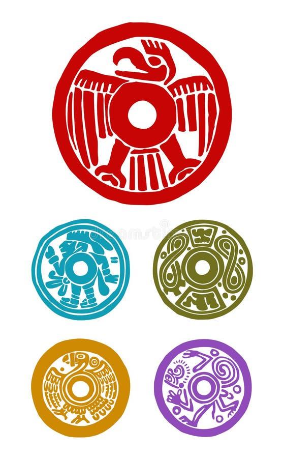 Mayan symboler vektor illustrationer