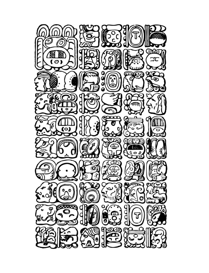 Mayan symbols stock illustration