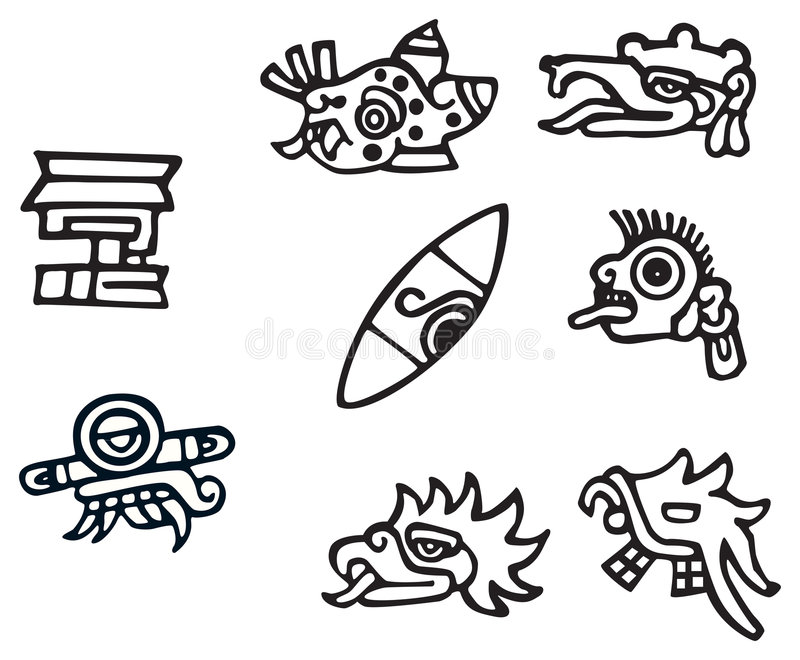 Mayan Symbols Great Artwork For Tattoos Stock Vector Illustration