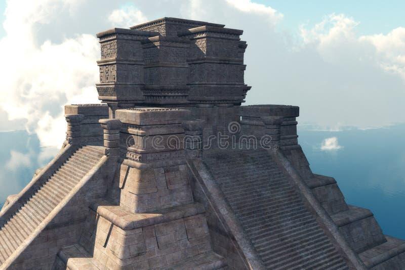 Mayan tempel met Wolken stock illustratie