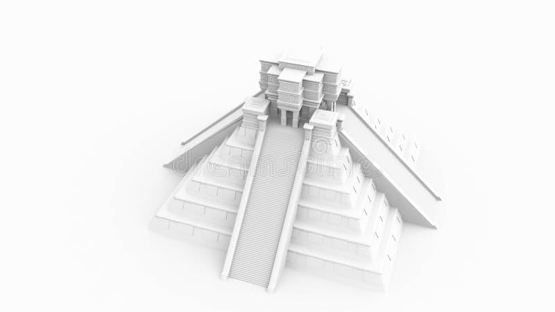 Mayan Tempel op Wit vector illustratie