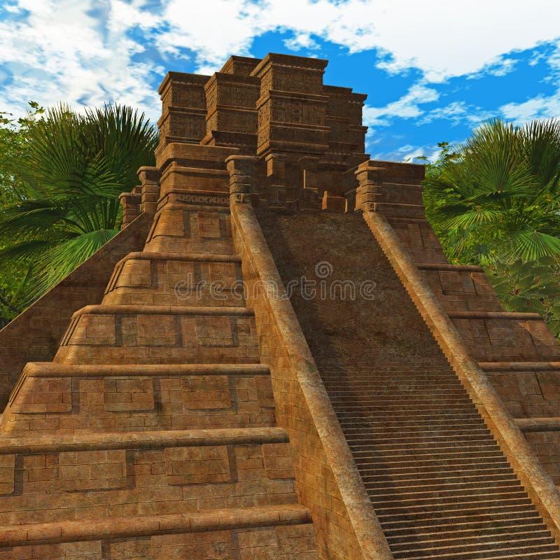 Mayan Tempel in Wildernis royalty-vrije illustratie