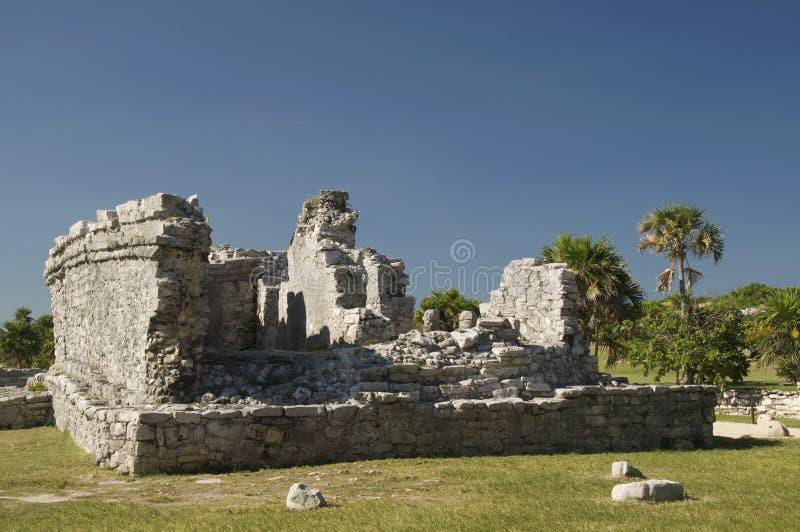 Mayan tempelruïnes in Tulum stock foto's