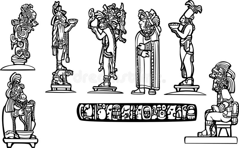 Mayan temple group vector illustration