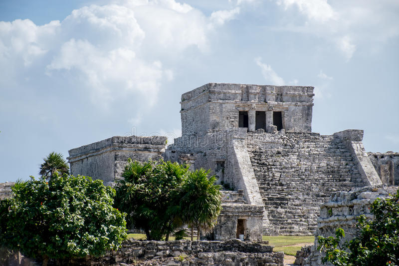 Mayan Temple. A large Mayan temple in Tulum, Mexico stock photos