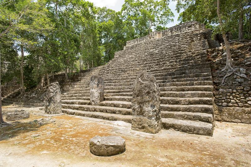 Mayan temple structure at Calakmul archaeological site royalty free stock photos