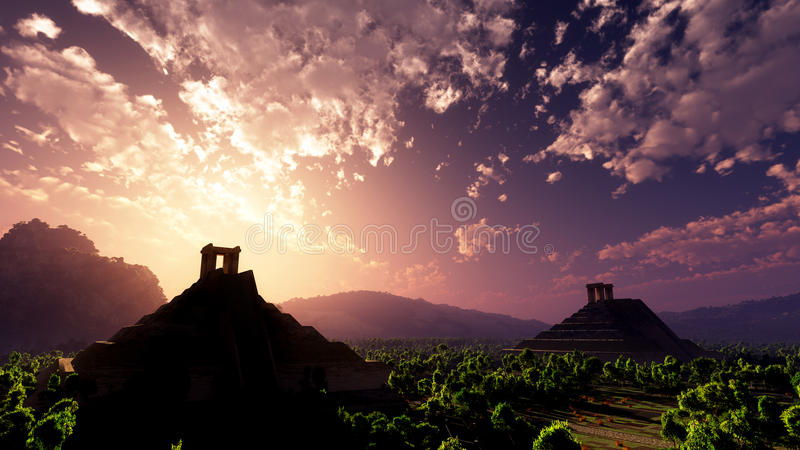 Mayan Temple Sunset stock illustration