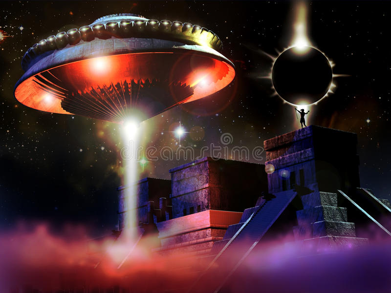 Mayan temple and UFO royalty free illustration