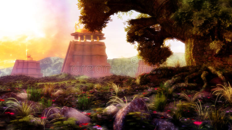 Mayan Temples royalty free illustration
