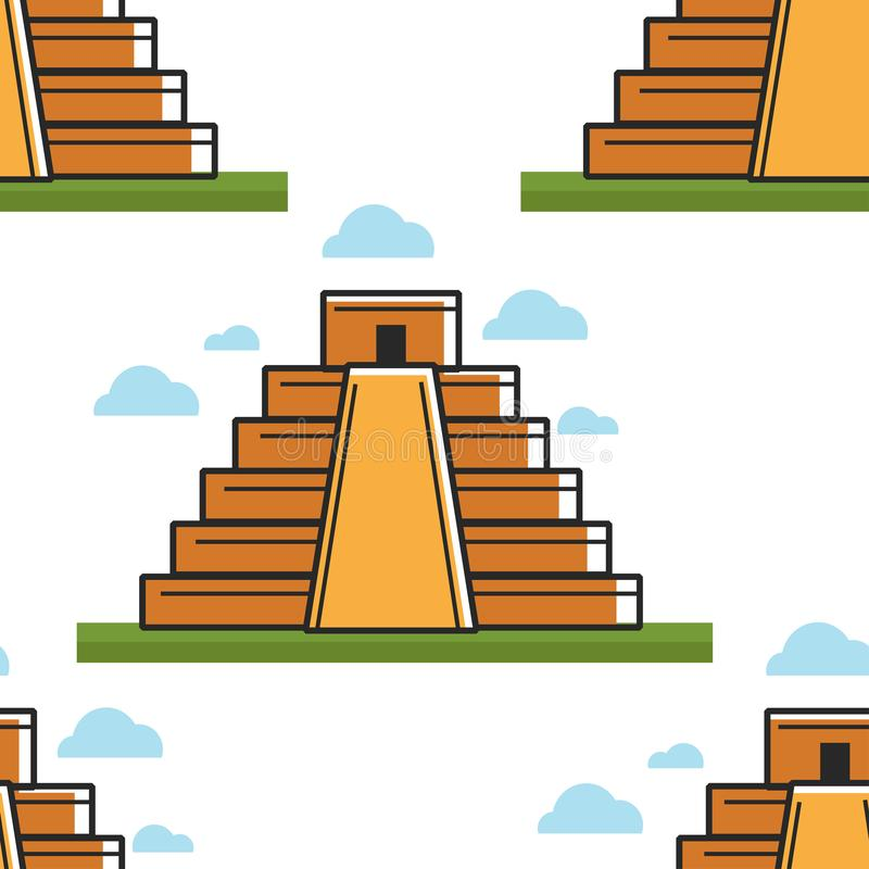 Mayan van het het ori?ntatiepunt naadloze patroon van piramidemexico oude architectuur royalty-vrije illustratie