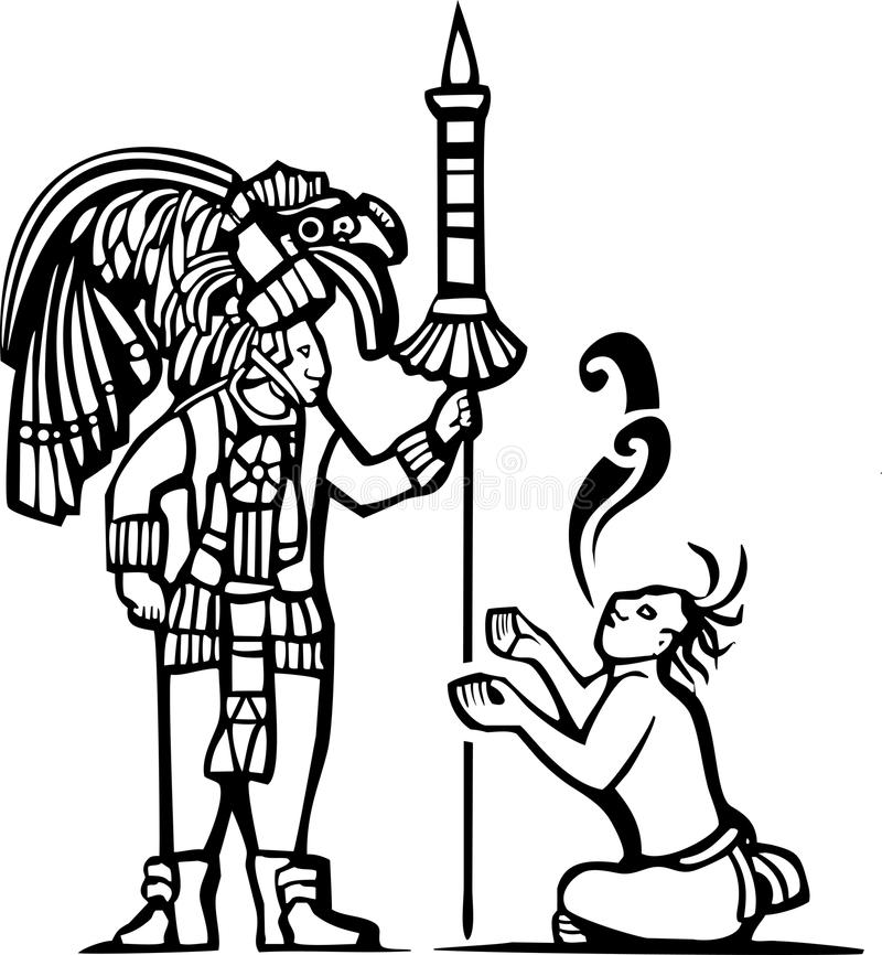 Mayan Warrior and Captive. Traditional Black and White Mayan Mural image of a Mayan Warrior and a captive with speech scrolls vector illustration