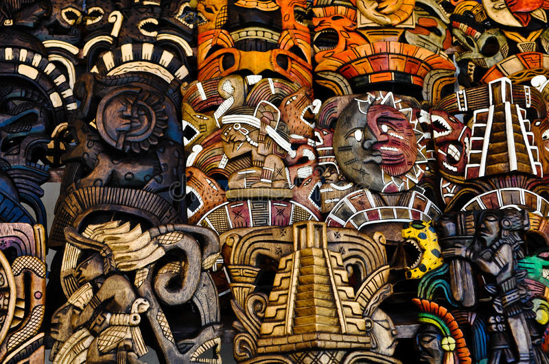 Download Mayan Wooden Masks For Sale Stock Image - Image: 22339581