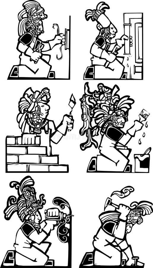 Mayan Workman Construction Set Royalty Free Stock Photo