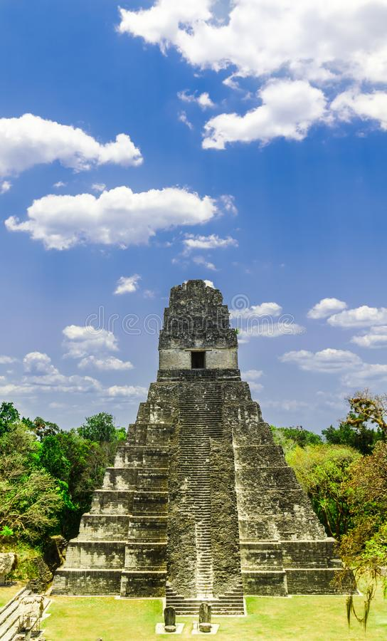 Mayapyramid vid Tikal i Guatemala fotografering för bildbyråer