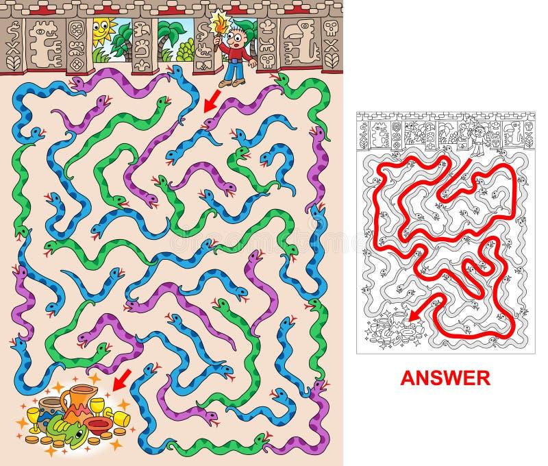 Mayapyramide - Labyrinth für Kinder lizenzfreie abbildung
