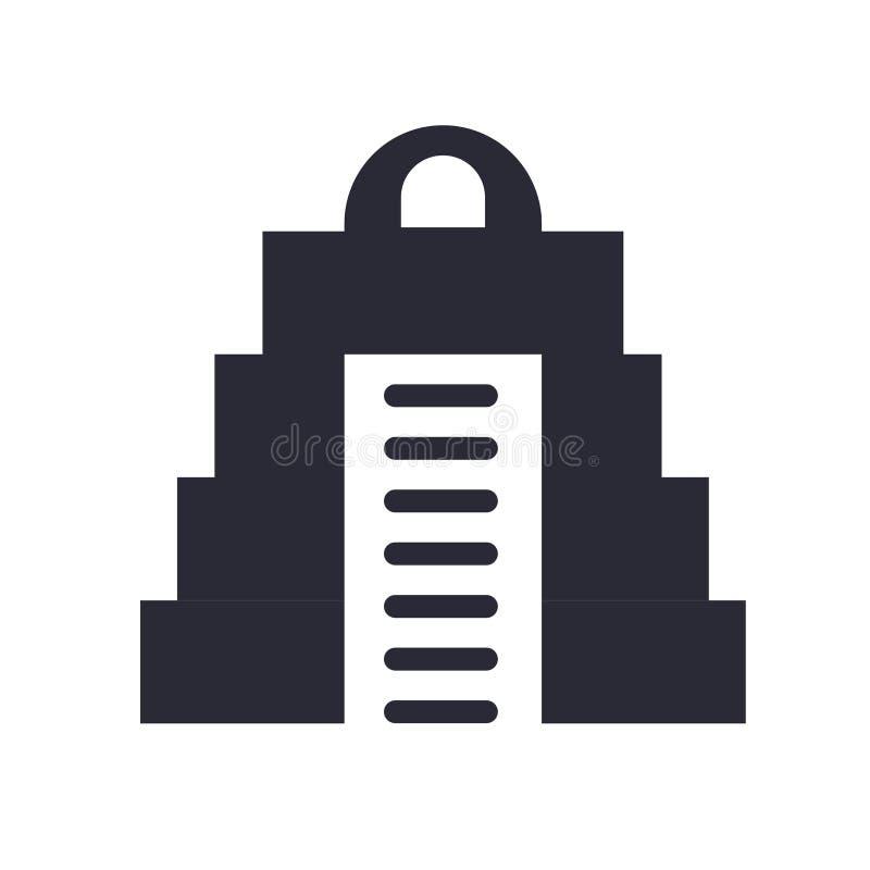 Mayapyramidenikonenvektorzeichen und -symbol lokalisiert auf weißem Hintergrund, Mayapyramiden-Logokonzept lizenzfreie abbildung