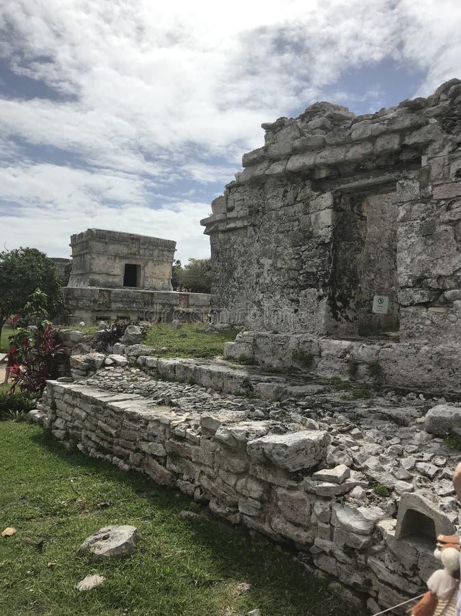 Mayaruinen Playa del Carmen Mexiko in Tulum lizenzfreies stockfoto