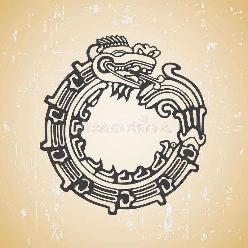Mayaschlange Quetzalcoatl ouroboros vektor abbildung