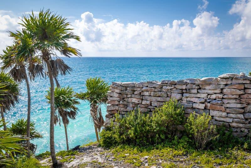 Mayaväggen fördärvar, det karibiska havet och palmträd - Tulum, Mexico royaltyfria foton