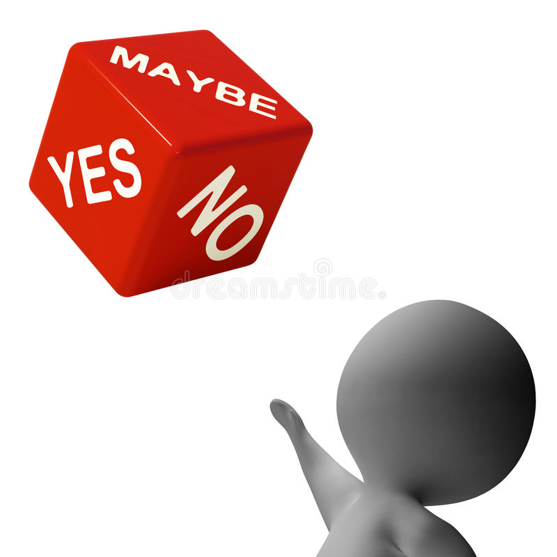 Maybe Yes No Dice Shows Uncertainty And Decisions Stock Photo