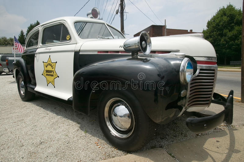 Mayberry Sheriff's Department Police Car. In Mount Airy, North Carolina, the town featured in �Mayberry RFD� and home of Andy Griffith royalty free stock photography