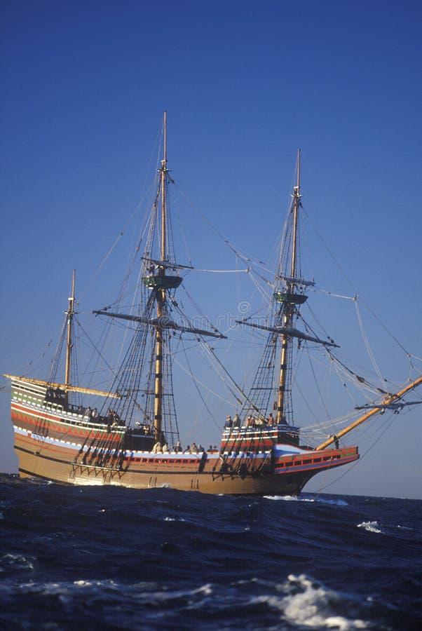 Mayflower II Replica on sea, Massachusetts royalty free stock images