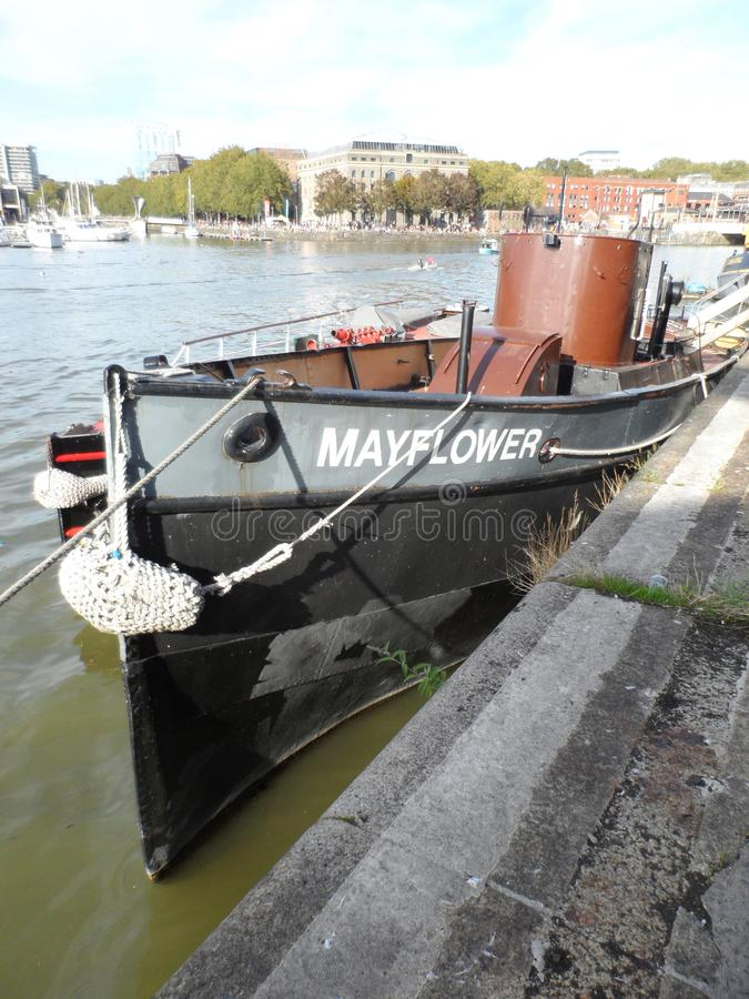 Old Mayflower Steam Tug Boat Moored in Bristol Harbour stock photos