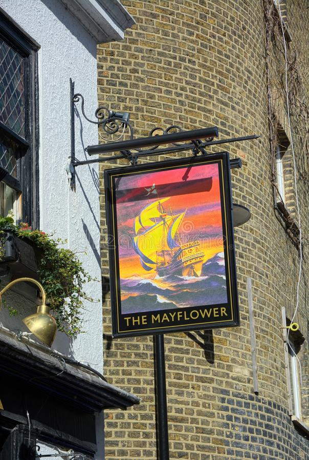 Mayflower pub sign. Rotherhithe, London. UK. In July 1620, the Mayflower ship took on board 65 passengers from its London home port of Rotherhithe on the River royalty free stock photo