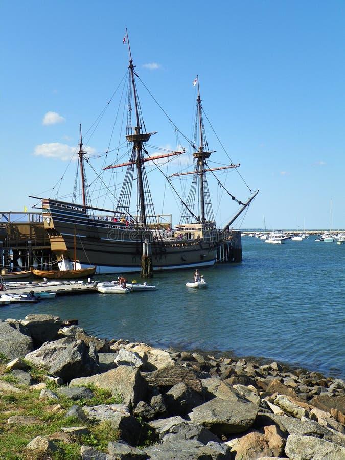 Mayflower 2 reproduction ship in Plymoth Massachusetts stock image
