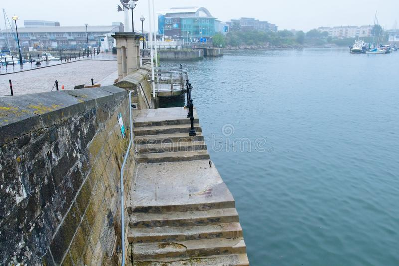 Mayflower Steps Memorial and Lookout Plymouth England UK royalty free stock photo