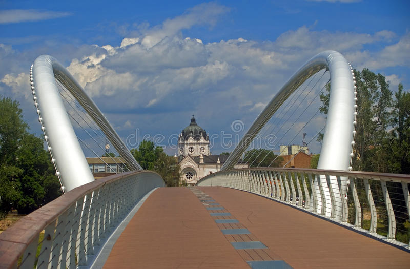 Mayfly Bridge, Szolnok, Hungary. Szolnok is a small town located in the middle of Hungary. Hungary's second biggest river, the Tisza is flowing through the city royalty free stock images