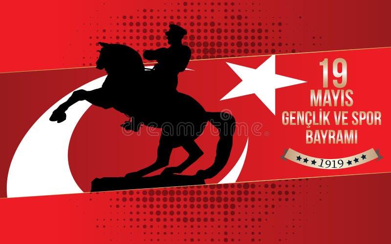 19 mayis阿塔图尔克` u Anma, Genclik ve Spor Bayrami贺卡设计 19可以阿塔图尔克,青年时期的记念并且炫耀天 Vec 库存例证