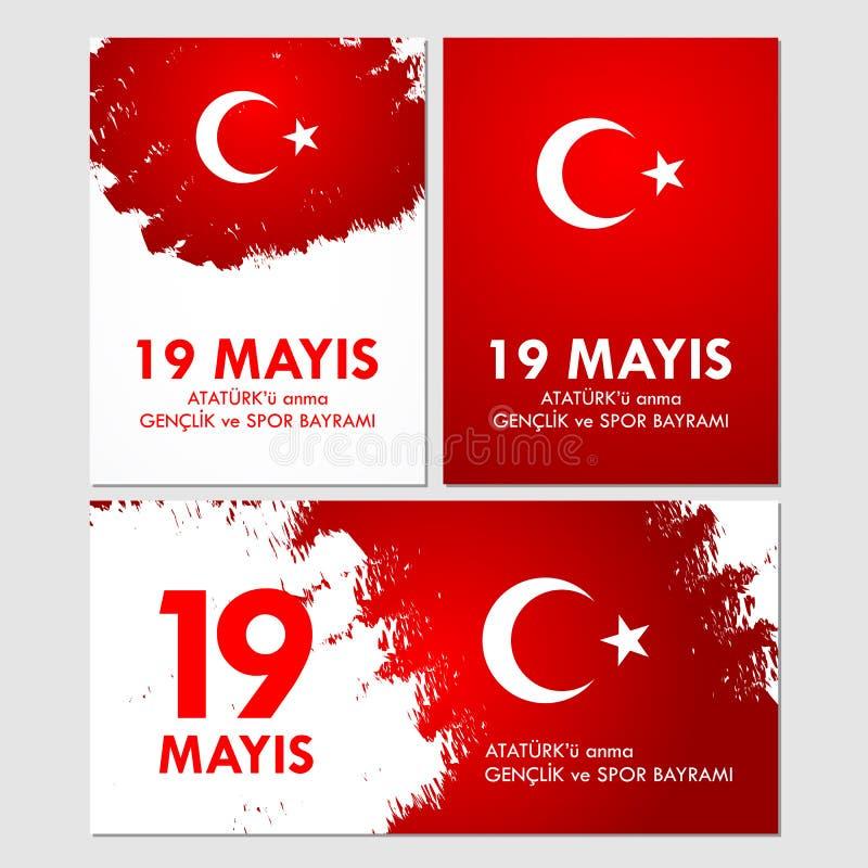 19 mayis阿塔图尔克` u anma, genclik ve spor bayrami 翻译:第19可以阿塔图尔克,青年时期的记念并且炫耀天 库存例证