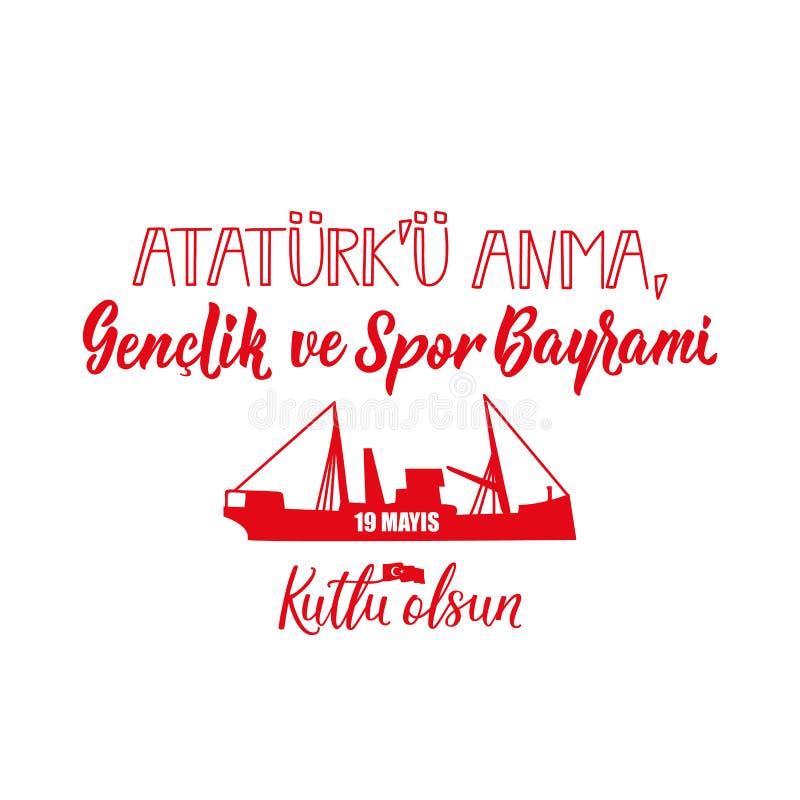 19 mayis Ataturk ?u Anma, Genclik VE Spor Bayrami, tradu??o: 19 podem comemora??o do dia de Ataturk, de juventude e de esportes, ilustração royalty free