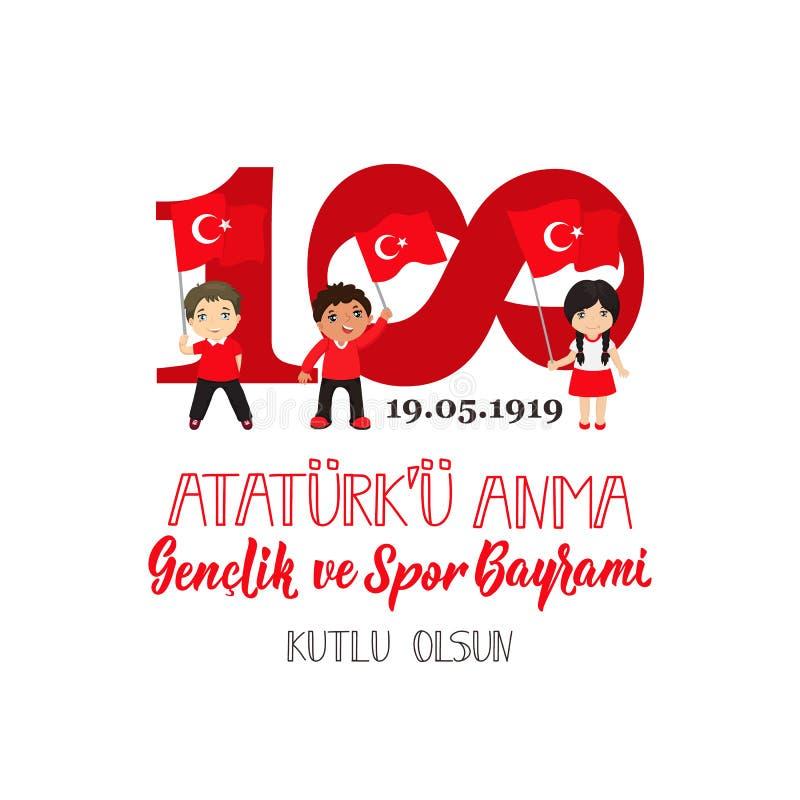 19 mayis Ataturk ?u Anma, Genclik VE Spor Bayrami, tradu??o: 19 podem comemora??o do dia de Ataturk, de juventude e de esportes ilustração royalty free
