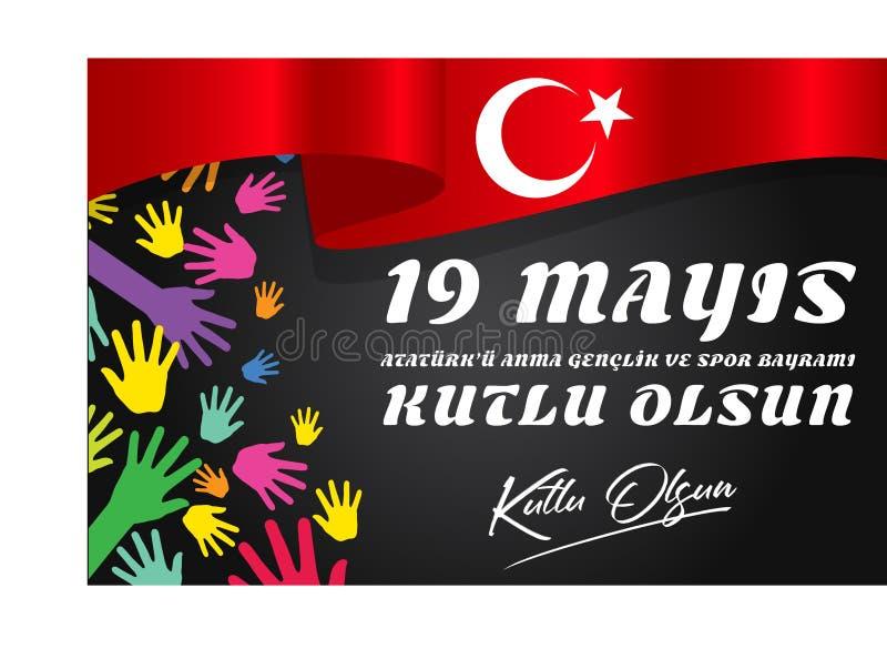 """19 mayis Ataturk """"u Anma, Genclik VE Spor Bayrami, traduzione: 19 possono commemorazione di Ataturk, della gioventù e della giorn royalty illustrazione gratis"""