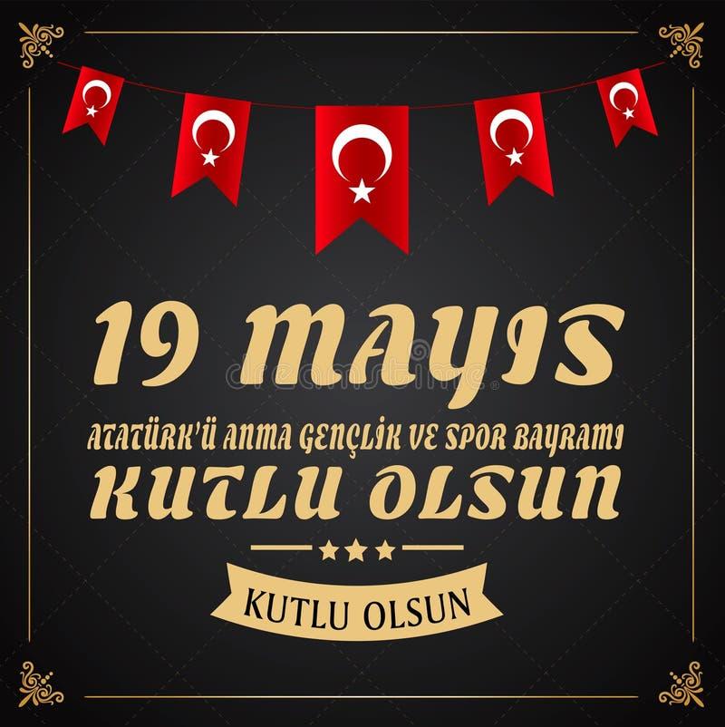19 mayis Ataturk 'u Anma, Genclik ve Spor Bayrami, översättning: 19 kan åminnelsen av den Ataturk, ungdom- och sportdagen, stock illustrationer