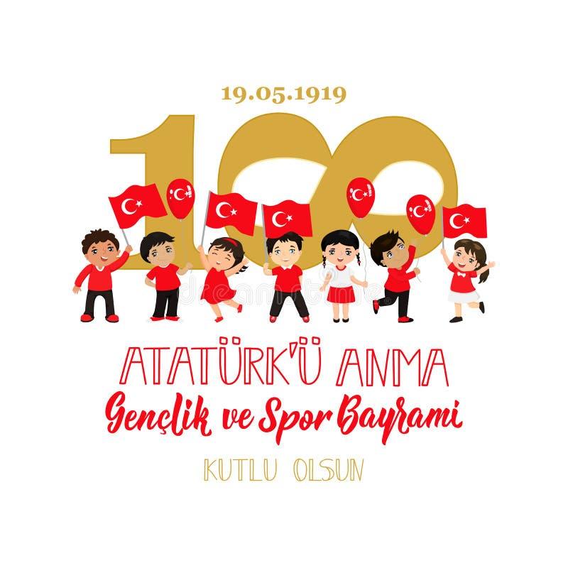 19 mayis Ataturk ?u Anma, Genclik VE Spor Bayrami, tradu??o: 19 podem comemora??o do dia de Ataturk, de juventude e de esportes ilustração stock