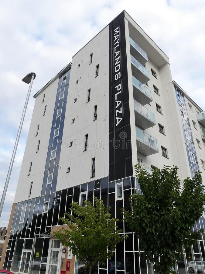 Maylands广场、一套住房和零售发展由Hightown住房协会在Maylands大道,赫默尔亨普斯特德 免版税库存照片