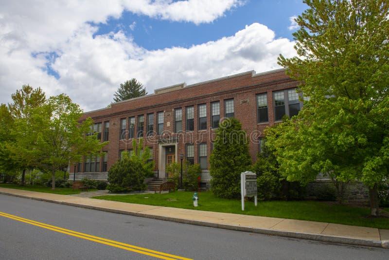 Maynard Public Library, Maynard, Massachusetts, USA. Maynard Public Library on Nason Street in Maynard historic town center in summer, Maynard, Massachusetts stock image
