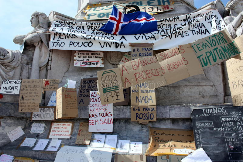 Mayo de 2011 - Lisboa, campo de Rossio foto de archivo libre de regalías