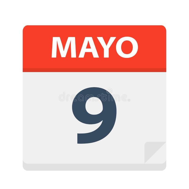 Mayo 9 - Kalenderpictogram - 9 Mei Vectorillustratie van Spaans Kalenderblad royalty-vrije illustratie