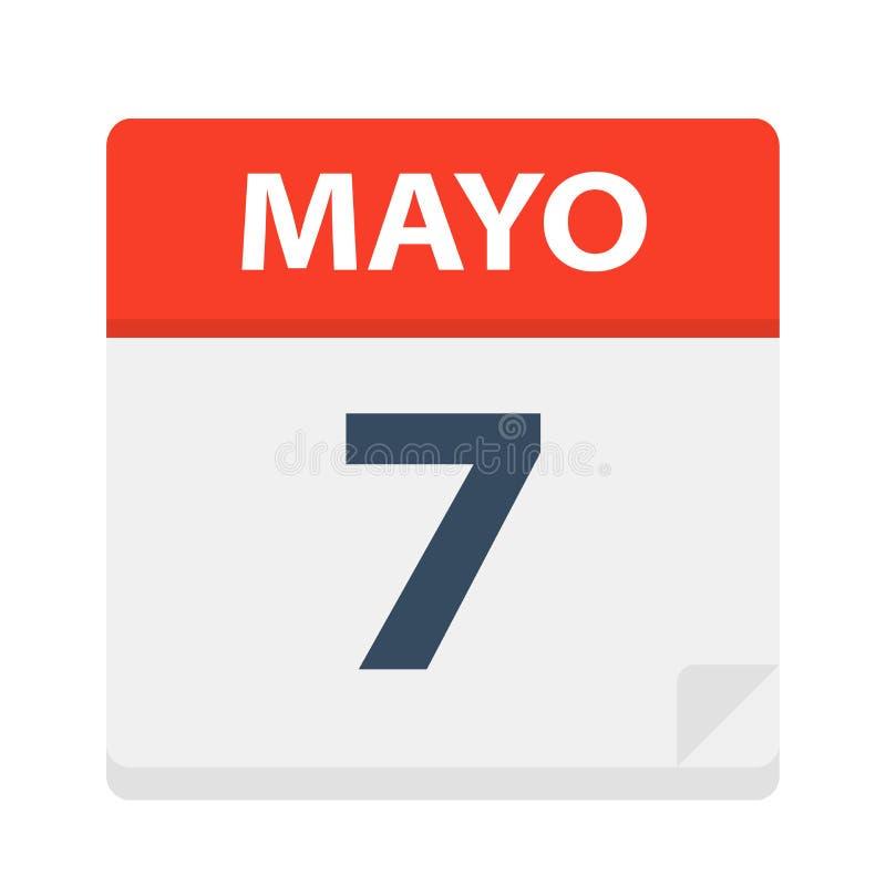 Mayo 7 - Kalenderpictogram - 7 Mei Vectorillustratie van Spaans Kalenderblad vector illustratie