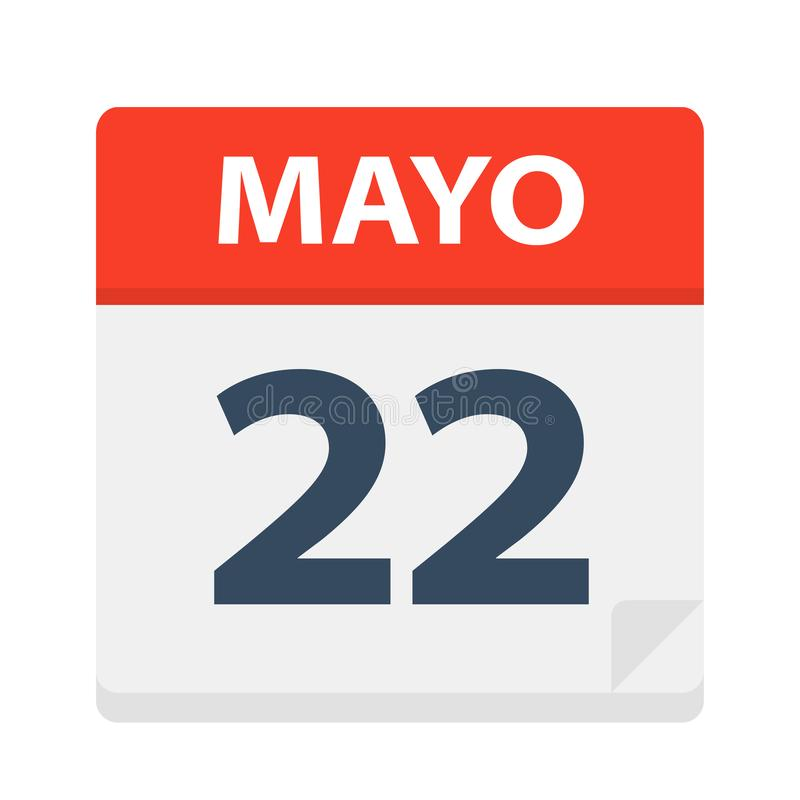 Mayo 22 - Kalenderpictogram - 22 Mei Vectorillustratie van Spaans Kalenderblad vector illustratie
